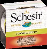 تصویر کنسرو Schesir مخصوص گربه با طعم ماهی تن و کدو حلوایی