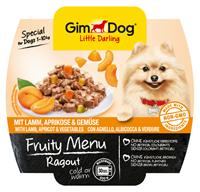 تصویر کنسرو Gimdog Fruty Menu حاوی خوراک راگو،گوشت بره و زردآلو Gimdog
