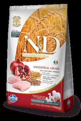 تصویر غذای خشک N&D مخصوص سگ بالغ حاوی مرغ و انار 2.5 کیلوگرم MEDIUM