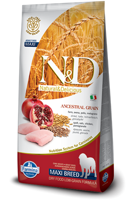 تصویر غذای خشک N&D مخصوص سگ بالغ حاوی مرغ و انار 12 کیلوگرم MAXI