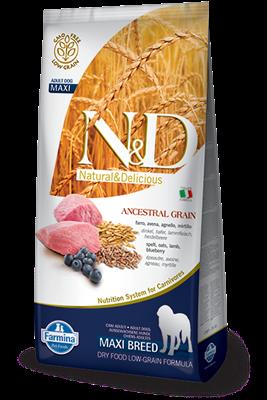 تصویر غذای خشک N&D مخصوص سگ بالغ حاوی گوشت بره و بلوبری 12 کیلوگرم MAXI
