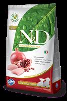 تصویر غذای خشک N&D بدون غلات مخصوص توله سگ نژاد کوچک و متوسط حاوی مرغ و انار 2.5 کیلوگرمی