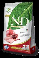 تصویر غذای خشک N&D بدون غلات مخصوص توله سگ نژاد کوچک و متوسط حاوی مرغ و انار 800 گرمی
