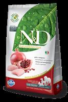 تصویر غذای خشک N&D بدون غلات مخصوص سگ بالغ همه نژاد ها حاوی مرغ و انار 800 گرم MEDIUM