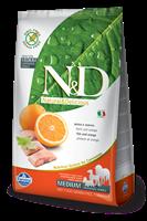 تصویر غذای خشک N&D بدون غلات مخصوص سگ بالغ حاوی ماهی و پرتغال 2.5 کیلوگرمی  MEDIUM