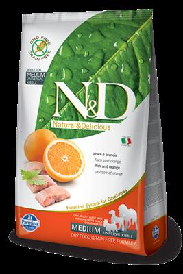 تصویر غذای خشک N&D بدون غلات مخصوص سگ بالغ کلیه نژاد ها حاوی ماهی و پرتغال 800 گرمی  MEDIUM