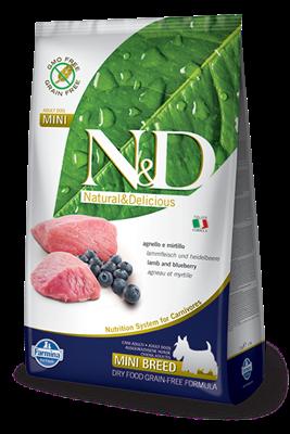 تصویر غذای خشک N&D بدون غلات مخصوص سگ بالغ حاوی گوشت بره و بلوبری 800 گرم MINI