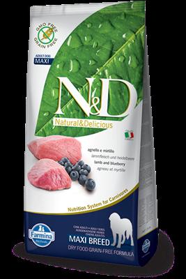 تصویر غذای خشک N&D بدون غلات مخصوص سگ بالغ حاوی گوشت بره و بلوبری 12 کیلوگرم MAXI