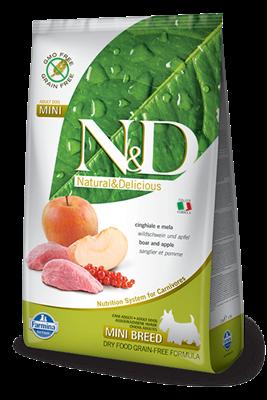 تصویر غذای خشک N&D بدون غلات مخصوص سگ بالغ حاوی گوشت گراز و سیب 2.5 کیلوگرم MINI