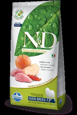 تصویر غذای خشک N&D بدون غلات مخصوص سگ بالغ حاوی گوشت گراز و سیب 12 کیلوگرم MAXI