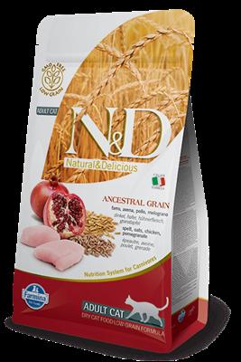 تصویر غذای خشک N&D مخصوص گربه بالغ حاوی مرغ و انار - 5 کیلوگرم