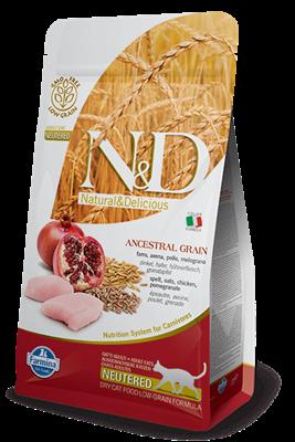تصویر غذای خشک N&D مخصوص گربه عقیم حاوی مرغ و انار 10 کیلوگرم