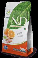 تصویر غذای خشک N&D بدون غلات مخصوص گربه بالغ حاوی ماهی کد و پرتغال 300 گرم