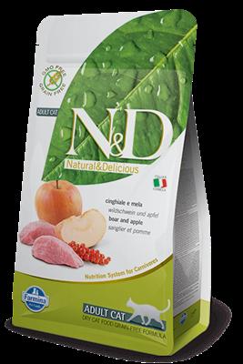 تصویر غذای خشک N&D بدون غلات مخصوص گربه بالغ حاوی گوشت گراز و سیب 10 کیلوگرم