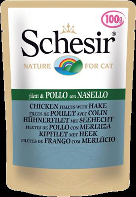 تصویر پوچ گربه Schesir با طعم فیله ی مرغ و ماهی هیک - 100 گرمی