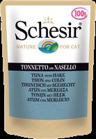تصویر پوچ گربه Schesir با طعم ماهی تن و ماهی هیک - 100 گرمی