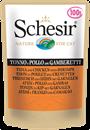 تصویر پوچ گربه Schesir با طعم ماهی تن و مرغ و میگو - 100 گرمی