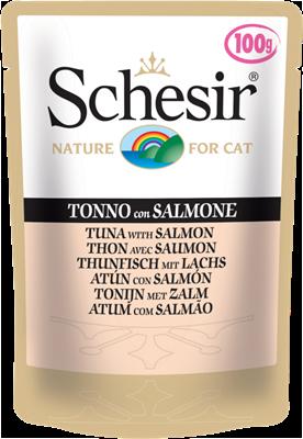 تصویر پوچ گربه Schesir با طعم ماهی تن و ماهی سالمون - 100 گرمی