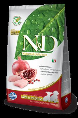 تصویر غذای خشک N&D بدون غلات مخصوص توله سگ نژاد کوچک و متوسط حاوی مرغ و انار