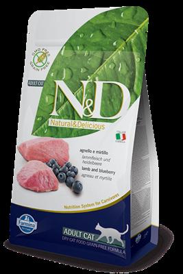 تصویر غذای خشک N&D بدون غلات مخصوص گربه بالغ  حاوی گوشت بره و بلوبری