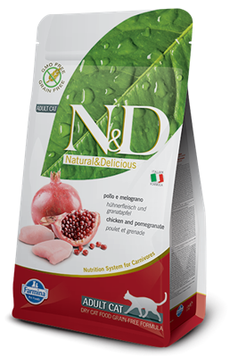 تصویر غذای خشک N&D بدون غلات مخصوص گربه بالغ حاوی مرغ و انار