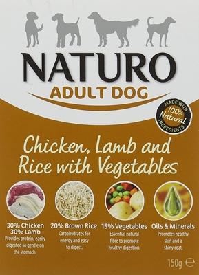 تصویر خوراک کاسه ای گوشت بره، برنج و سبزیجات NAUTRO مخصوص سگ بالغ