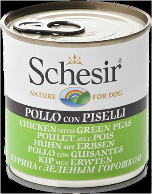 تصویر کنسرو Schesir مخصوص سگ با طعم مرغ و نخود سبز