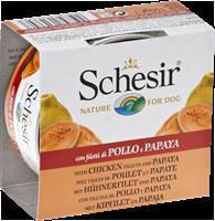 تصویر کنسرو Schesir مخصوص سگ با طعم مرغ و پاپایا
