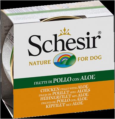 تصویر کنسرو Schesir مخصوص سگ با طعم مرغ و آلوئه ورا