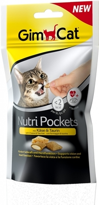 تصویر غذای تشویقی مغزدار  GimCat مدل Nutri Pockets با طعم پنیر و تورین