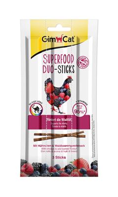 تصویر استیک مدادی مخصوص گربه Gimcat مدل Superfood تهیه شده از گوشت مرغ و تمشک وحشی - بسته 3 عددی