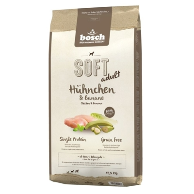 تصویر غذای نرم Bosch مخصوص سگ های بالغ با طعم مرغ و موز - 1 کیلوگرم