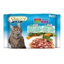 تصویر بسته پوچ با طعم گوشت گاو و ژامبون، گوشت خرگوش در ژله Stuzzy مخصوص گربه بالغ - بسته 4 عددی