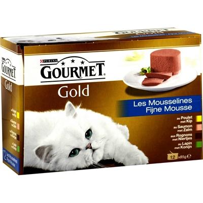 تصویر کنسرو گربه Gourmet با طعم های ماهی تن، جگر، فیله بوقلمون، فیله گوساله - بسته 4 عددی