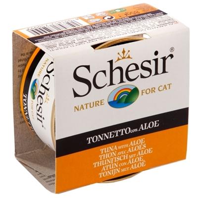 تصویر کنسرو Schesir مخصوص گربه بالغ با طعم ماهی و آلوئه ورا - 85 گرم