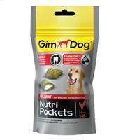 تصویر غذای تشویقی مغزدار GimDog مدل Nutri Pockets با طعم مرغ - 150 گرمی