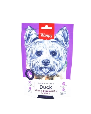تصویر استخوان دو سر گره مخصوص سگ Wanpy مدل Jerky & Rawhide Wraps با طعم گوشت اردک - ۱۰۰ گرم
