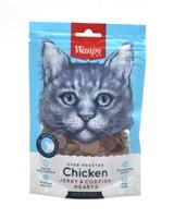 تصویر غذای تشویقی مخصوص گربه Wanpy مدل Jerky & Codfish Hearts با طعم مرغ - ۸۰ گرم