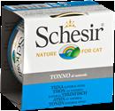 تصویر کنسرو Schesir تهیه شده از ماهی تن مخصوص گربه بالغ