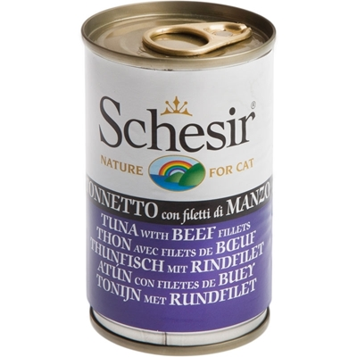 تصویر کنسرو Schesir مخصوص گربه با طعم ماهی تن و گوشت گوساله - 140 گرم