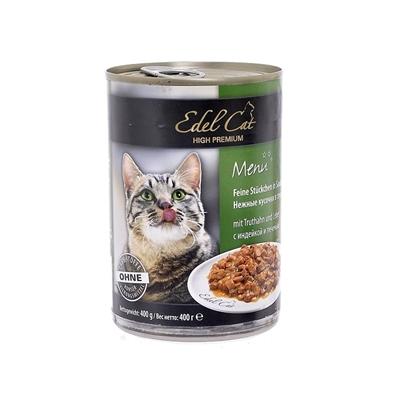 تصویر کنسرو گربه Deuerer مدل Edel Cat با طعم بوقلمون و جگر - 400 گرم
