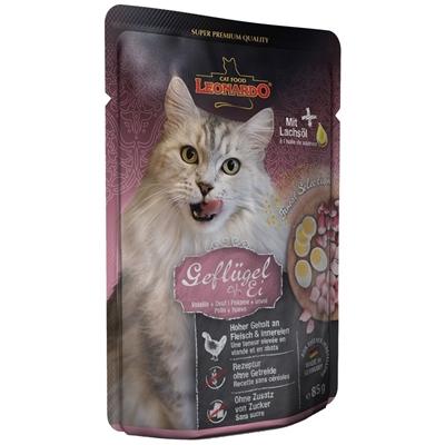 تصویر پوچ مخصوص گربه بالغ Leonardo  تهیه شده از مرغ و تخم مرغ - 85 گرم