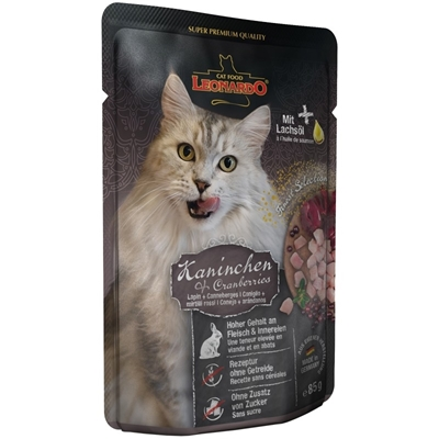 تصویر پوچ مخصوص گربه بالغ Leonardo تهیه شده از گوشت خرگوش و کرنبری - 85 گرم