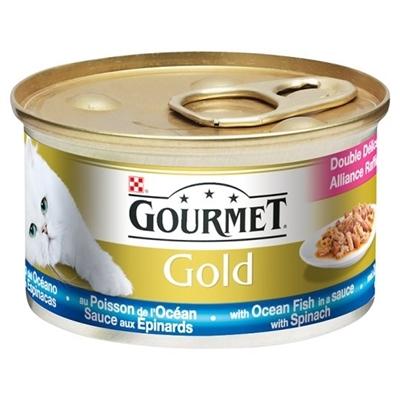 تصویر کنسرو گربه Gourmet Gold تهیه شده ماهی اقیانوس، سس و اسفناج