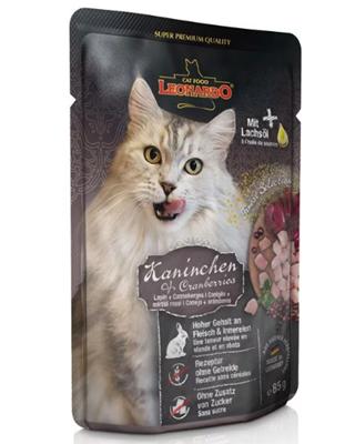 تصویر پوچ Leonardo مخصوص گربه بالغ با طعم گوشت خرگوش و زغال اخته - 85 گرم