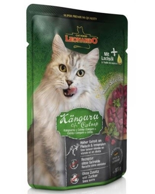 تصویر پوچ مخصوص گربه بالغ Leonardo تهیه شده از گوشت کانگرو و کت نیپ - 85 گرم
