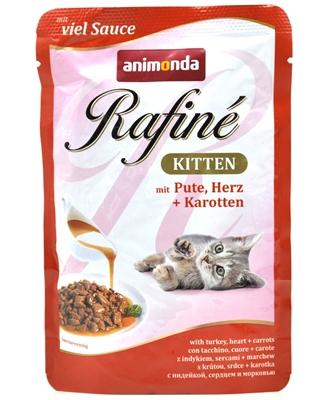 تصویر پوچ بچه گربه Animonda مدل Rafine تهیه شده از بوقلمون، دل و هویج - 100 گرم