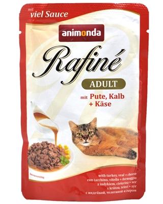 تصویر پوچ گربه بالغ Animonda مدل Rafine تهیه شده از گوشت بوقلمون و گوشت گوساله به همراه پنیر - 100 گرم