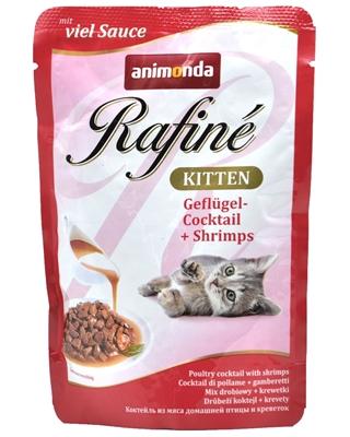 تصویر پوچ بچه گربه Animonda مدل Rafine تهیه شده از گوشت پرندگان و میگو - 100 گرم
