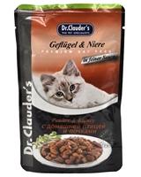 تصویر پوچ گربه بالغ Dr.Clauder's تهیه شده از طیور و دل مرغ - 100 گرم